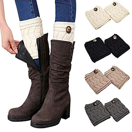 QKURT Bein Stulpen Damen, 4 Paar warme Beinstulpen Strick Damen Stulpen Socken Winter Kurze Stricken Stulpen Gestrickte Beinwärmer Leg Warmers Socken Boot Abdeckung für Frauen Mädchen