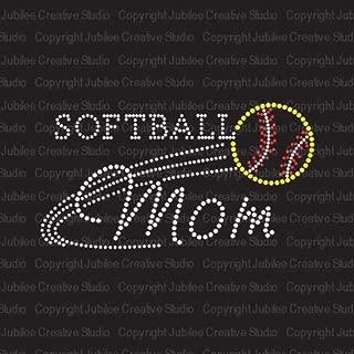 Softball Mom Iron On Rhinestone Crystal T-Shirt Transfer by JCS Rhinestones