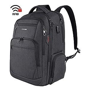 KROSER ビジネスリュック 大容量 通勤リュック pcリュックサック パソコンバッグpcバックパック 15.6-17.3インチ pcバッグ USB充電ポート ヘッドフォンポート RFIDポケット/撥水/防水/ビジネス/通勤/通学/出張/営業/旅行/メンズ/レディース -カーボンブラック