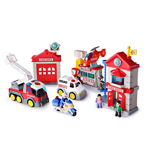 Fire Station Toy Fire Department House Playset, Electronic Fire Truck Toys with Fireman Figures for Kids