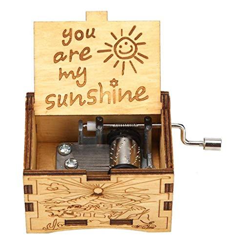 ForHe You are My Sunshine caixas de música de madeira, gravadas vintage de madeira, presente para aniversário/Natal/Dia dos Namorados (madeira)