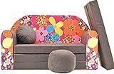 Canapé-lit Pro Cosmo A12 - avec Pouf, Repose-Pieds et Oreiller - pour Enfants - en...