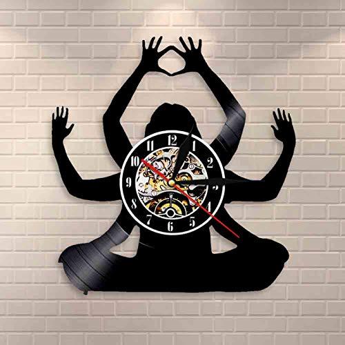 ROMK Reloj de Pared Reloj de Pared con Registro de Vinilo de meditación, decoración de Pared de Estudio de Yoga, Reloj de Pared