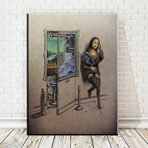 HD-Druck Kunst Leinwanddruck Poster Mona Lisa trinken Bier Malerei Wanddekoration Leinwand Malerei Wandbild nach Hause rahmenlose dekorative Malerei A42 70x100cm