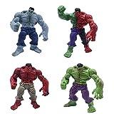 weichuang Accesorios decorativos para el hogar, 4 unidades/set de 12 cm, Marvel Toys Hulk, figura de acción de los Vengadores, superhéroe Hulk, PVC, colección de juguetes (color: 1 juego)