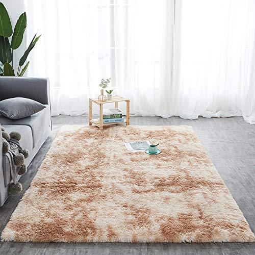 Hochflor Teppich wohnzimmerteppich Langflor - Teppiche für Wohnzimmer flauschig Shaggy Schlafzimmer Bettvorleger Carpet (160 x 230 cm, Beige mit Muster)