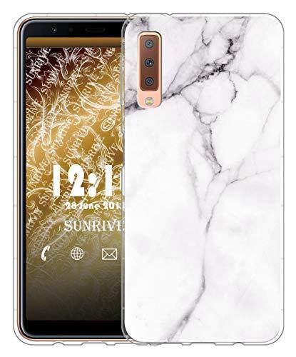 Sunrive Für Samsung Galaxy A7 (2018) Hülle Silikon, Transparent Handyhülle Luftkissen Schutzhülle Etui Case für Samsung Galaxy A7 (2018) A750(TPU Marmor Weißer)+Gratis Universal Eingabestift