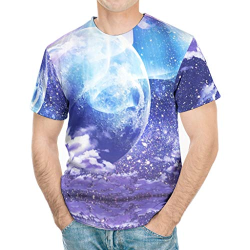 Klassische Passform Herren T-Shirt Fantasie Auroren Wolken Mondnebel Reflexion Landschaft Druck Mode Tee Tops White small