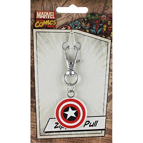 Licenses Products Marvel Comics Retro Captain America Shield Rubber Zipper Pull Figure