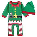 MOMBEBE COSLAND Mono Bebé Niño Manga Larga Disfraz Elfo de Navidad Gorro (Duende de Navidad, 9-12...