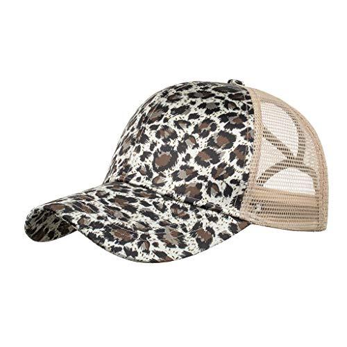 Koly-Hundebett Hohe Pferdeschwanz-Baseballkappe mit Leopardenmuster für Unisex, verstellbar mit gekreuztem Mesh-Design, Sonnenschutz, atmungsaktiv, Hut für Lauftraining im Freien, Einheitsgröße