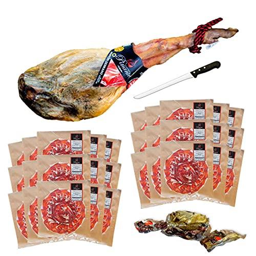 Jamón Serrano Gran Reserva Duroc, peso aprox 7,5-8Kg convertido en 30 sobres de jamón cortados tipo cuchillo. Incluye huesos y codillo. Salamanca. Pinante