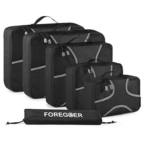 FOREGOER Set di 6 Organizer per Valigia da Viaggio imballaggio cubi con Sacco - Nero