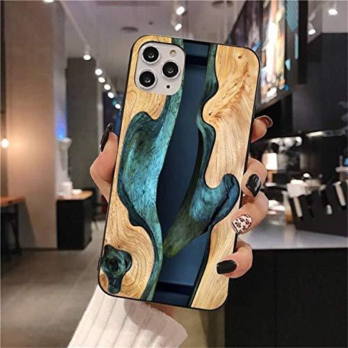 FYMIJJ Funda de teléfono Suave Colorida de Resina Madera mármol para iPhone 12 Pro MAX 11 Pro XS MAX 8 7 6 6S Plus X 5S SE 2020 XR, A11, para 7 Plus u 8 Plus