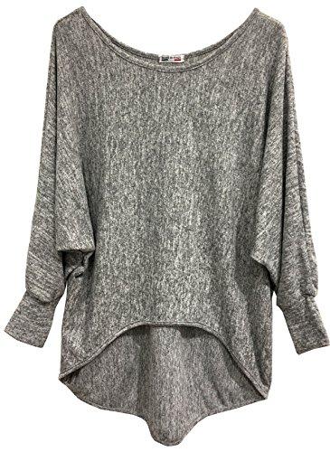 Emma & Giovanni - Basic Langarmshirt/Pullover- Damen (EU40/42/XL, Grau)