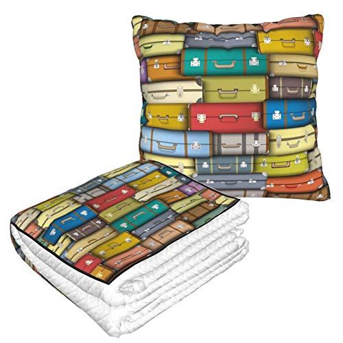 KIMDFACE Manta de Viaje súper Suave,Fondo Maletas Coloridas Viaje Vintage Viaje Vacaciones con Temática Diseño,Manta Plegable,Almohada cómoda