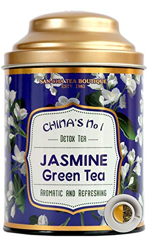 Sancha Tea Boutique Jasmine Green Tea (100Cups+), Intensely Aromatic,Night Blooming Jasmine Flower Blend, Rich in Antioxidants, Imported