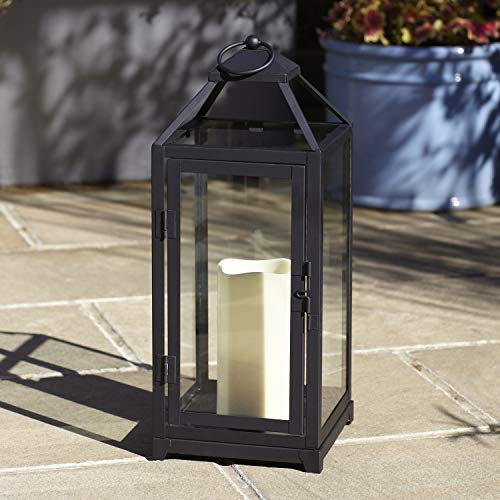 Lights4fun, Inc. 15' Matte Black Metal Battery Operated Flameless LED Candle Lantern for Indoor Outdoor Use