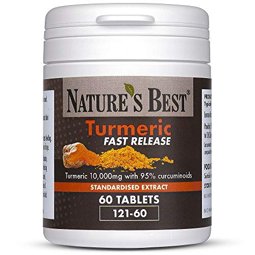 Turmeric Fast Release Tablets 10,000mg (as 200mg Extract) 95% Curcuminoids - High Strength - 60 Tablets - Fast Release Formula for Fast Absorption - UK Made – Purest Grade, standardised Extract