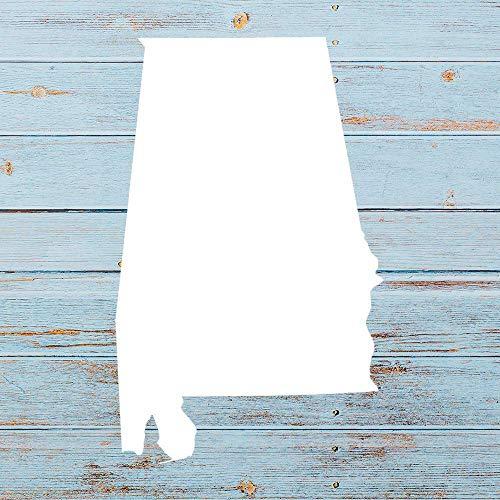 Alabama AL State Outline Vinyl-Aufkleber für Auto, Stoßstange, Laptop, LKW, Fenster, Wände und mehr, weiß