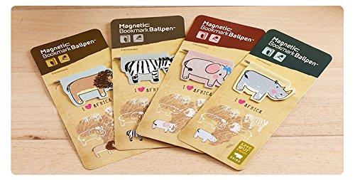 Gifts UK® Safari-Tiere, Löwe, Zebra, Elefant, Nashorn, magnetische Lesezeichen mit Kugelschreiber, Magnet, Leser, Geschenk, Löwe