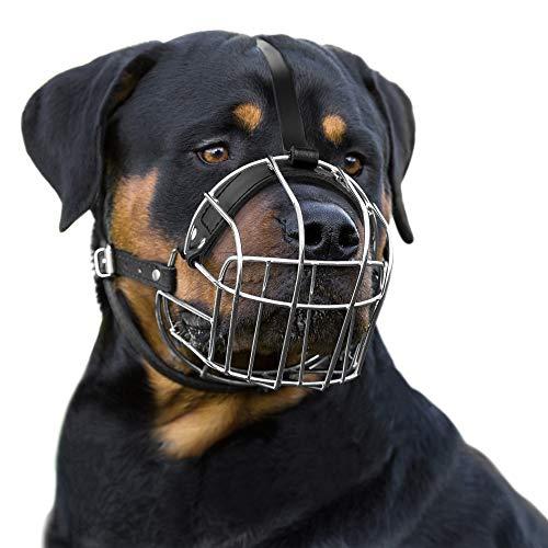 BRONZEDOG Maulkorb für Hunde, Drahtkorb, verstellbare Lederriemen, Größe L