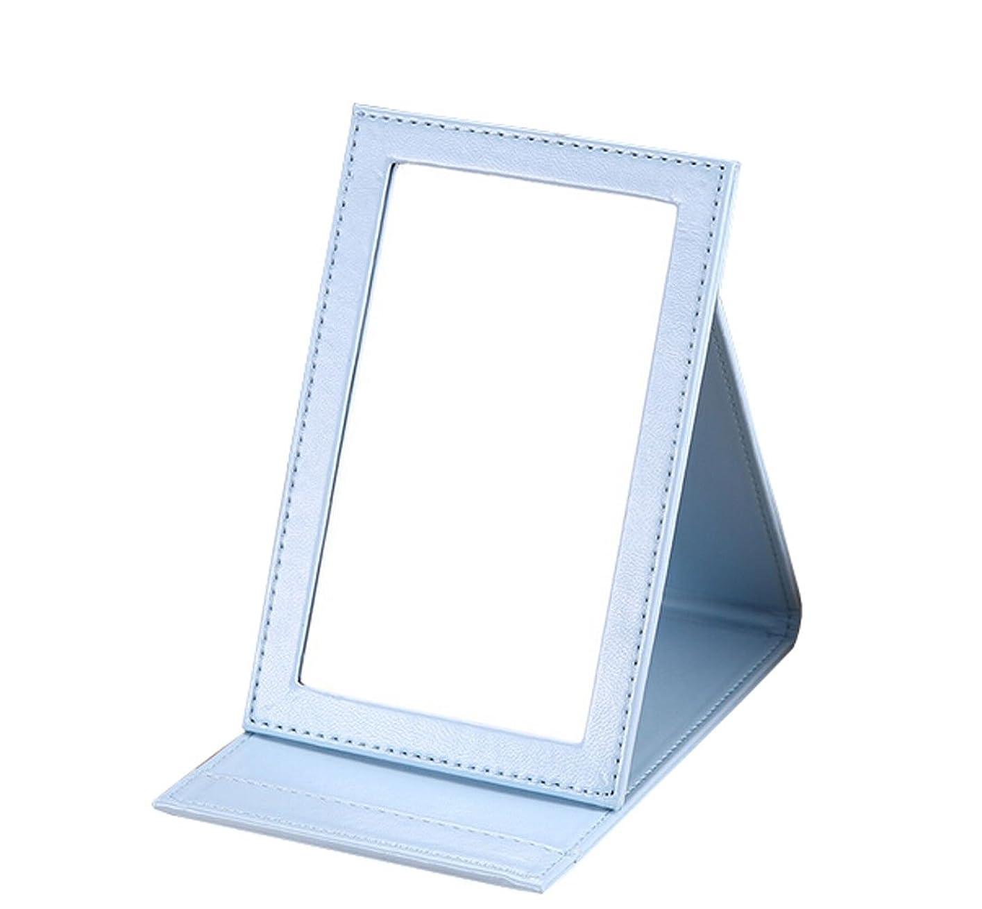 反映する電気的約雲の花 革の化粧鏡に手のデスクトップに化粧鏡を持って折りたたみ式にして折り畳む鏡 (ブルー)