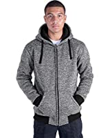Fashion Hoodies for Men Full Zip Up Sherpa Lined Sports Sweatshirts Mens Winter Fleece Fabric Jacket with Hood (Lt.Grey, 5XL)