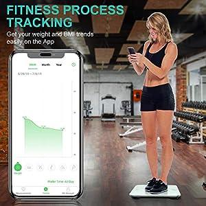Waage Personen mit App, Cocoda Smart Personenwaage Digital, Bluetooth Körperwaage mit Step-On Technologie & Leicht Lesbar Backlit LED Display, BMI Waagen, 0.2-180kg (2 x AAA Batterien Inklusiv)
