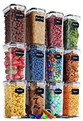 Chef's Path Airtight Food Storage Containers Set - 12 PC/Small Size - 2L/ 67oz - Kitchen & Pantry Organization, Ideal for Flour & Sugar - BPA-Free - Plastic Canisters with Labels, Marker & Spoon Set
