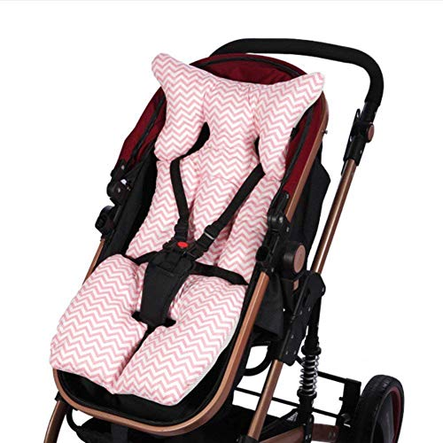 Baby Stroller Pram Pushchair Universal Seat Liners, Breathable Cotton Stroller Pads Seat Warm Cushion Mats Pillow with Summer and Winter Sides (Pink)
