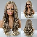 EMMOR pelo largo ondulado sintético con encaje frontal con peluca de pelo marrón oscuro con parte media para mujer