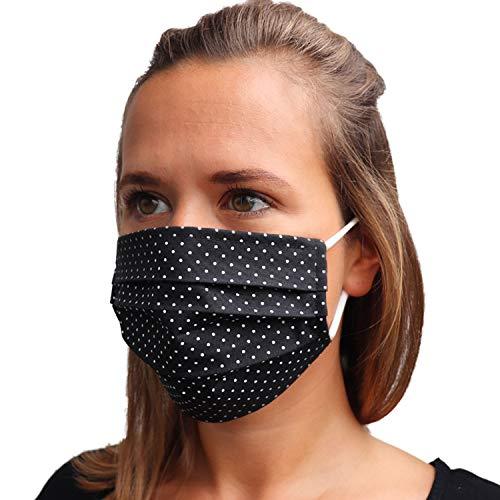 LIEVD Mundschutz Maske 100% Baumwolle Made in Germany | OEKO-TEX 100 | Gesichtsmaske waschbar | Mund und Nasenschutz wiederverwendbar | Behelfsmaske 2-lagig (Größe M - Schwarz Pünktchen)