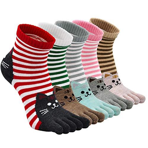ZFSOCK Zehensocken Damen Baumwolle Bunt Sport Five Finger Socken Zehen Einzeln Lustig Gestreift Laufen Socken 36-41, 5 Paare(4/7 Jahre)