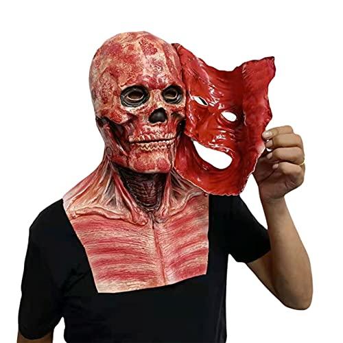 KANGDILE Decoración de Halloween Doble Capa Rippado Máscara sangrienta Horror Skull Máscara de látex Cosplay Propswear Diew Ropa Dress Up Fiesta Accesorios