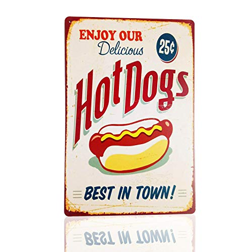 MMOUNT Tin Signs Hot Dogs Best in Town Vintage Coffee Restaurant Bar Signs 12X8Inch
