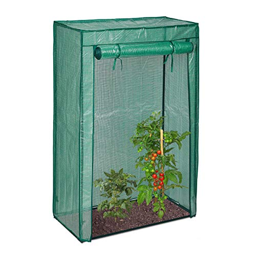 Relaxdays Tomatengewächshaus, Garten & Balkon, Foliengewächshaus Tomaten, HBT: 150x100x50 cm, Stahl & PE-Folie, grün