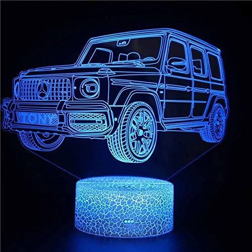 Único jeep base agrietada luz de visión 3D acrílico luz nocturna multicolor luz LED multicolor decoración creativa lámpara de mesa pequeña