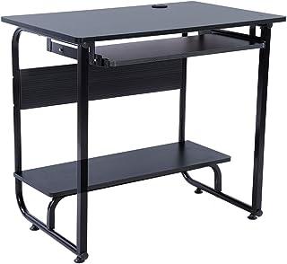 Computer Bureau Toetsenbord Lade Studie Schrijftafel Hoekbureau met Opbergplank voor Thuiskantoor Schrijftafel(zwart)
