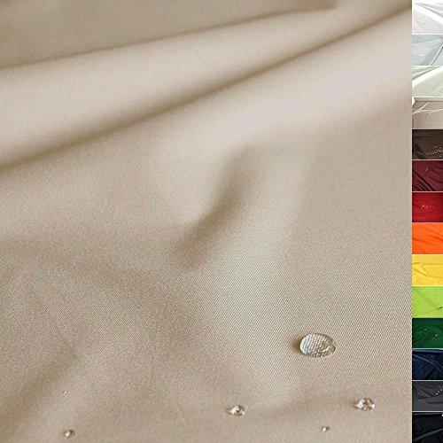 TOLKO Sonnenschutz Nylon Planen-Stoff wetterfeste Meterware - 180 cm Breit, Wasserdicht beschichtet, Reißfest und Blickdicht als Universal Outdoorstoff zum Nähen (Sand-Beige)
