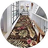 Korridor Teppichläufer Fleckenwiderstandsfähige 3D Blätter Druck Anti-Rutsch-Küchenhalle-Korridor-Bodenläufer-Teppichgröße: 0.9x8 / 0.9x1m Hall Rugs (Color : A, Size : 1.6x3m)