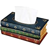 NiHome Wood Tissue Box Cover Novelty Napkin Holder Refill Hinged Lid Dispenser Handcrafted Scholar's Antique Book Reader Vintage Retro Paint Decor Storage Home Office School Business (Blue Top)