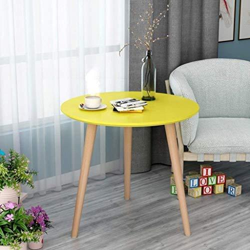 DNSJB Kleine Koffietafel Eettafel Vrije tijd Hoek Rond Hout Eenvoudig Modern, 4 Kleuren, Meerdere Maten (Kleur, Geel, Hout, Maat, 60x61cm)