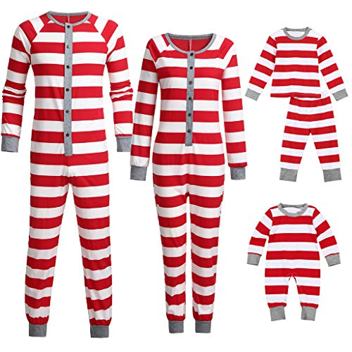 Women Mom Family Xmas Jammies Striped Holiday Matching Pajamas Long Jumpsuits