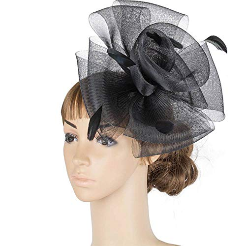 FHKGCD Show Hair Accessories Fascinator Headwear Female Party Crinoline Feather Colorful Mesh Race Cocktail Hats,Black,