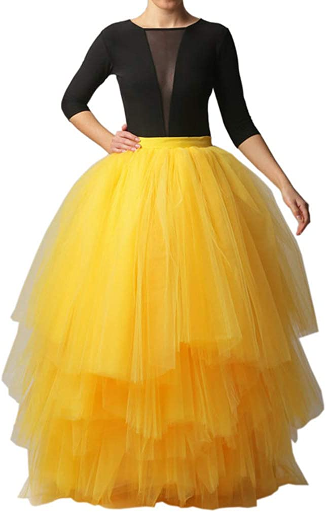 Lisong Floor Length Tulle Layered Tutu Party Prom Skirt for Women
