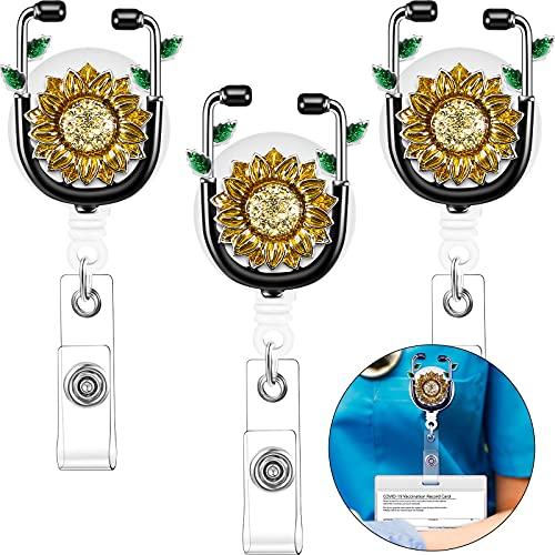 3 Pieces Sunflower Nurse Badge Holder Crystal Rhinestone Sunflower Badge Clip Sunflower Retractable Name Card Badge Holder Reinforced Strap Easy Retracting Alligator Clip for Nurse Teacher Student