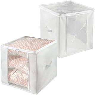 mDesign boîte de rangement avec fermeture éclair (lot de 2) – cube de rangement pratique en polypropylène – panier de rang...