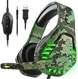 Auriculares para juegos PS4 con estéreo de sonido envolvente 7.1 para interruptor PS5, Luz LED de vibración de micrófono omnidireccional, Compatible con Mac Laptop, Camo Green