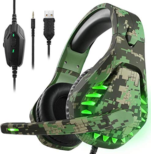 Butfulake Noise Cancelling PC Headset with Mic,PS4 Gaming Headset with 7.1 Surround Sound Stereo for PS5 Switch,Omnidirectional Microphone Vibration LED Light,Compatible with Mac/Laptop,Camo Green
